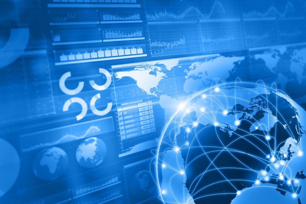 Global business and stock market blue background, with charts, diagrams, world maps and data arranged on grid and tables. Globe showing internet and network connections between countries. World maps showing continents and countries with economy data and growth diagrams. State of the world. Diminishing perspective. Light focusing on map.
